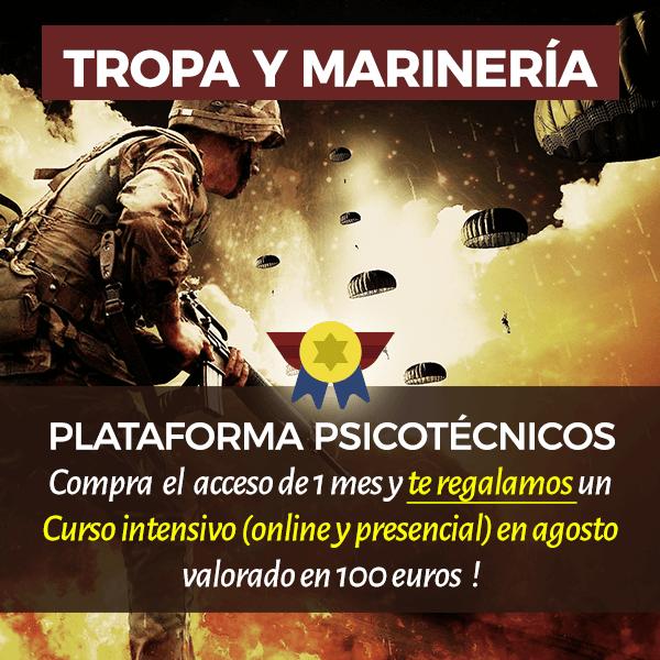 Curso online y presencial + plataforma psicotécnicos de Tropa y Marinería - Agosto - Academia Claustro